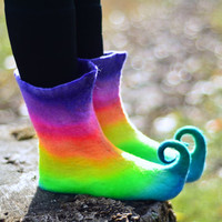 Custom Size Rainbow Curly Toe Slipper Boots. Fairy Shoes. Ankle High Felt Booties.