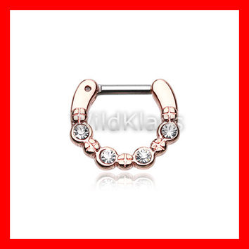 Rose Gold Septum Clicker Ring Horseshoe Elan Multi Gem Click Ring Cartilage Earrings Nipple Ring Circular Barbell Tragus Jewelry Helix Conch
