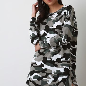 Camouflage Side Ruffle Long Sleeve T-Shirt Dress
