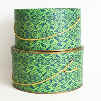 Vintage Lime Green Brocade Hat Boxes, 1940s Cardboard Paper Hat Container, Victorian Wallpaper Print Storage Box