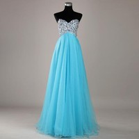 Sweetheart Beaded Tulle Formal Evening Party Long Prom  Dresses Gown