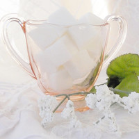 Antique Pink Depression Glass Demitasse Sugar Bowl, Serving, Open Sugar, Wedding, Tea Party, Housewarming Gift Inspired