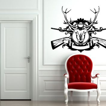 Wall Vinyl Decal Sticker Decals Hunting Animal Deer Buck Elk Cute Horns  z72