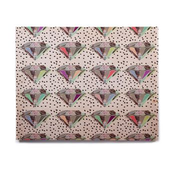 "Vasare Nar ""Polka Dot Diamonds"" White Rainbow Birchwood Wall Art"