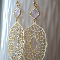 PRE-ORDER Ice Pink Glass Stone and Gold Filigree Earrings - Simple Everyday Dangle Drop Earrings