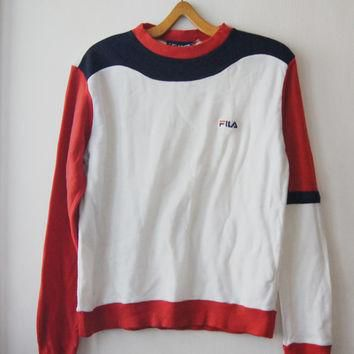 Vintage FILA Sweater 1980's blue white red sport Sweater made for karlson swiss size M