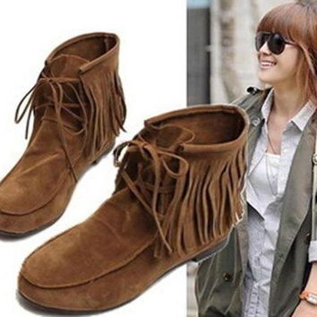 ONETOW Women Girls Lady Fashion Fringe Tassel Warm Casual Snow Ankle Snow Boots Moccasins Fla