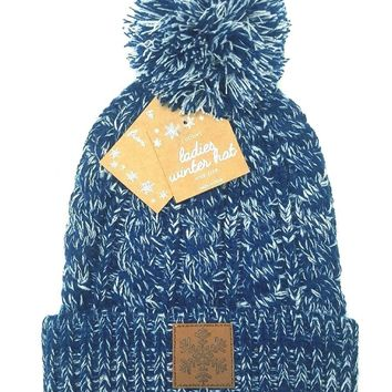 NEW Womens Blue Beanie Hat Knit Winter Hat Cuffed Hat Cap With Snowflake Patch