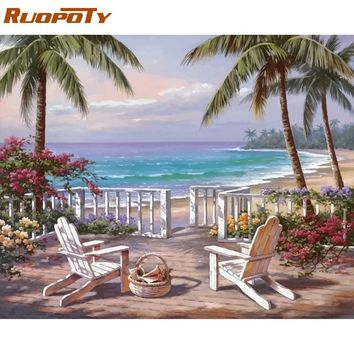 RUOPOTY Frame Seaside Landscape DIY Painting By Numbers Kits Acrylic Paint By Numbers Modern Wall Art Picture For Home Decors