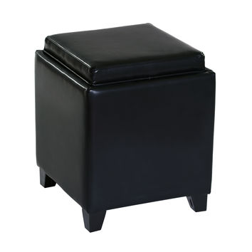ARMEN LIVING Rainbow Contemporary Storage Ottoman With Tray in Black Bonded Leather