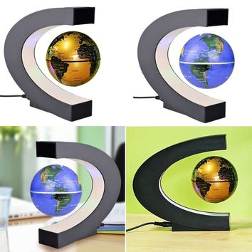 C Shape Black / Blue LED World Map Electronic Magnetic Levitation Globe