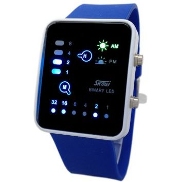 Technological Sense Binary Digital LED Decoration Waterproof Unisex Sports Wrist Watches Dark Blue:Amazon:Watches