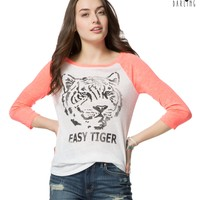 Tokyo Darling™ 3/4 Sleeve Easy Tiger Graphic T