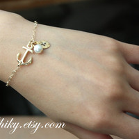 Gold anchor with initial leaf and pearl bracelet anchor by chiky