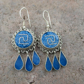 Vintage Silver Earrings Made in Mexico Alpaca with Turquoise or Lapis Southwestern earrings