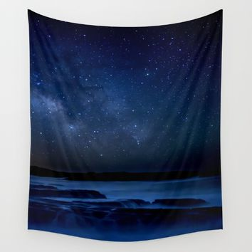Dark Night California Coastal Waters Wall Tapestry by 2sweet4words Designs