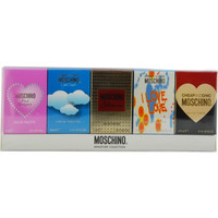 MOSCHINO VARIETY by Moschino 5 PIECE MINI SET WITH PINK BOQUET & LIGHT CLOUDS & GLAMOUR & I LOVE LOVE & CHEAP AND CHIC AND ALL ARE .17 OZ MINIS