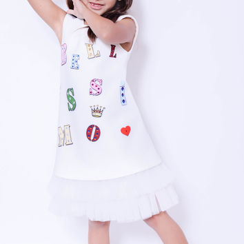"Koma-Va Girl's White ""Bellisimo Bling"" Sleeveless dress with skirt"