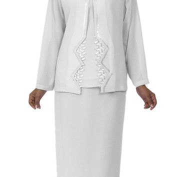 Hosanna 5141 Plus Size 3 Piece Set White Tea Length Dress