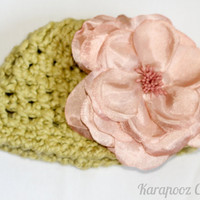 Baby crochet beanie hat with oversized satin flower,  organic cotton, olive color, photo prop, newborn photography,3-6 months