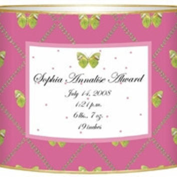 Birth Announcement Personalized Baby Bin | Butterfly