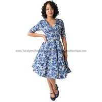 Gwen Swing Dress: Blue Floral