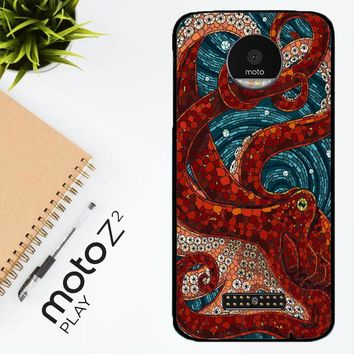 Kraken Octopus Stained Glass L1586 Motorola Moto Z2 Play Case