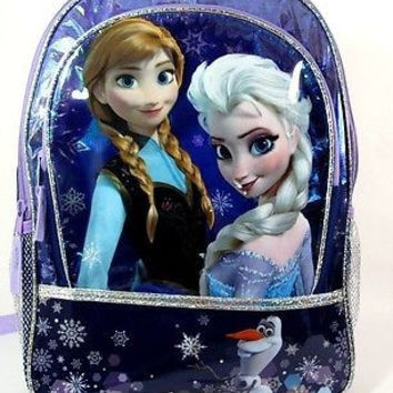 "Walt Disney Rare Frozen Olaf,Anna, and Elsa 16"" Backpack-Brand New with Tags!v0"