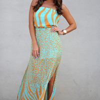 Tropical Animal Maxi Dress: Orange | Hope's