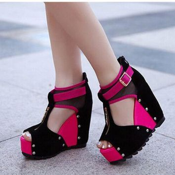 Women's Patchwork Peep Toe Designer Wedge
