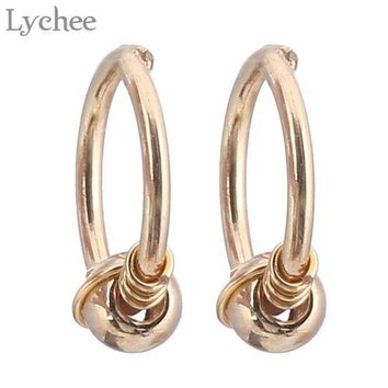ac PEAPO2Q Lychee Punk Stainless Steel Spiral Nose Ring Gold Silver Color Body Jewelry Fashion Jewelry For Women Men