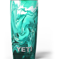 Bright Trendy Green Color Swirled Yeti Rambler Skin Kit
