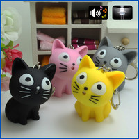 2016 cute Cheese cat keychain with Meow sound kawaii led keyring Children gift Valentine's day gifts