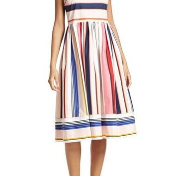 berber stripe fit & flare dress