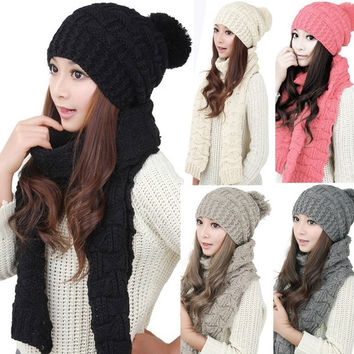 Women's Fashion Sexy  Lady Winter Knitted Scarf and Hat Set Thicken Knitting Skullcaps = 1957907268