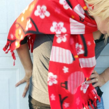 Scarf,  fleece no sew scarf, neck warmer in red with paper lanterns and cherry blossoms