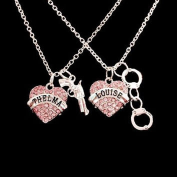 Thelma Louise Pink Best Friend Gun Handcuff Partners In Crime Necklace Set
