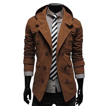 High Quality Cotton Trench Coat Men Double Breasted Fashion Slim Men's Jackets Outerwear Casual Windbreaker Mens Trench Coat