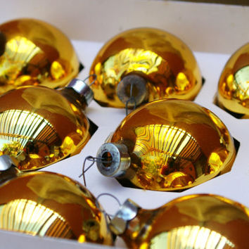Vintage Gold glass Ball Christmas Ornaments - Set of 10