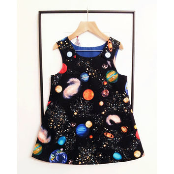 BESTSELLER Space Black Pinafore Dress -Handmade in quality cotton print fabric, featuring planets, stars and far off galaxies! STEM Playwear