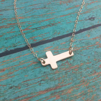 Gold Cross Necklace / Tiny Little Sideways Cross Necklace / Dainty Gold Necklace / Confirmation Gift