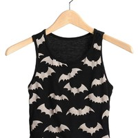 Black Bat Girl Crop Top | $9.50 | Cheap Trendy Shirts Chic Discount Fashion for Women | ModDeals.com