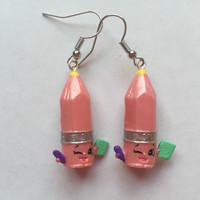 Shopkins Foodie Earrings - Penny Pencil [Stationary] - made with repurposed toys