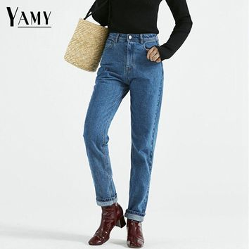 Winter Vintage Ladies High Waist Jeans Woman Black Pencil Casual Denim Trousers Pants Zipper Mom Boyfriend Jeans for Women