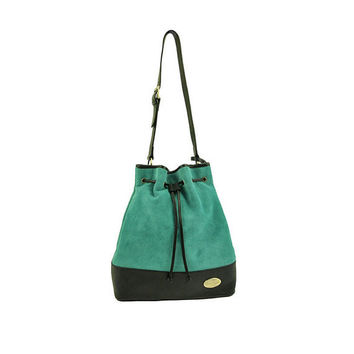 Teal suede leather tote bag, leather crossbody bag, two-tone, suede leather purse, leather drawstring bag in turquoise
