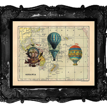 Vintage Book Print Vintage Book Page Art Print French Hot Air Blue Balloons Trio on a Map Book Page