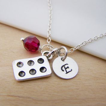 Dainty Muffin Tin Cooking / Baking Charm Swarovski Birthstone Initial Personalized Sterling Silver Necklace / Gift for Her
