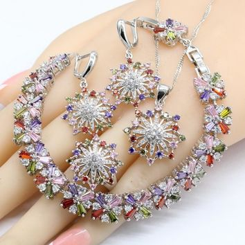 Multi Color Cubic Zirconia 925 Silver Jewelry Sets For Women 2018 New Earrings Bracelet Rings Necklace Pendant
