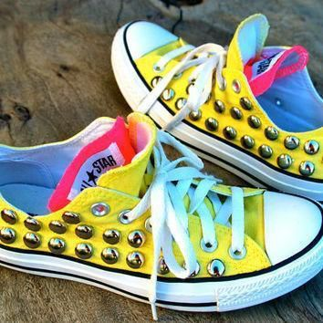 sunshine studded converse yellow pink double tongue rare