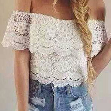 White Off The Shoulder Ruffle Lace Crop Top